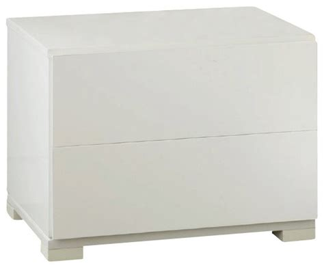 Modern White Lacquer Nightstand by Vig Furniture Roma Modern White Lacquer 2 Drawer