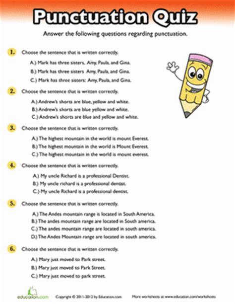 Punctuation Quiz  Worksheet Educationcom