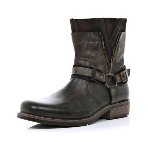 biker boots for river island brown distressed biker boots in brown