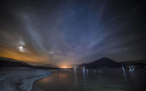 night sky   sea wallpaper