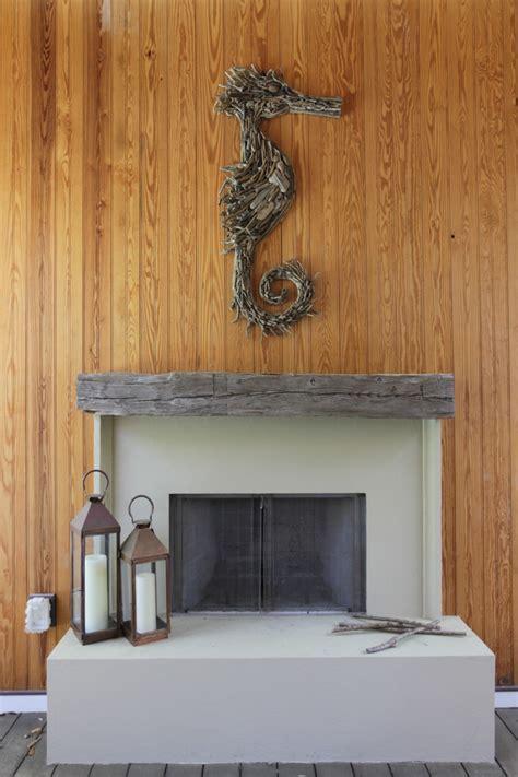 driftwood fireplace mantel Porch Beach with beadboard