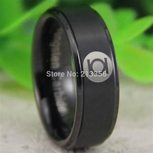 cheap price free shipping usa hot sales 8mm matte black With green lantern mens wedding ring