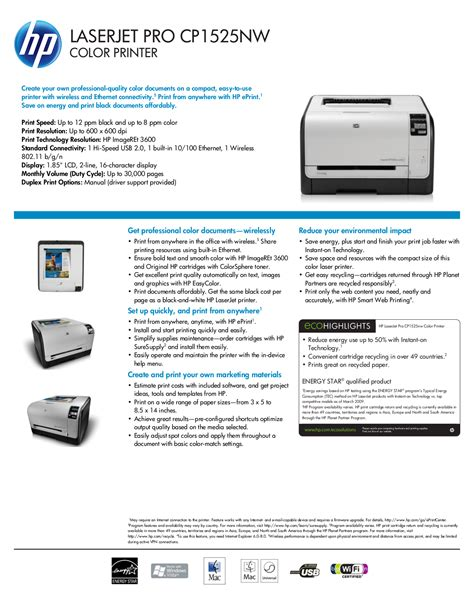 2.0 for windows xp (32bit) you can free and without. Download free pdf for HP Laserjet,Color Laserjet Pro CP1525nw Printer manual