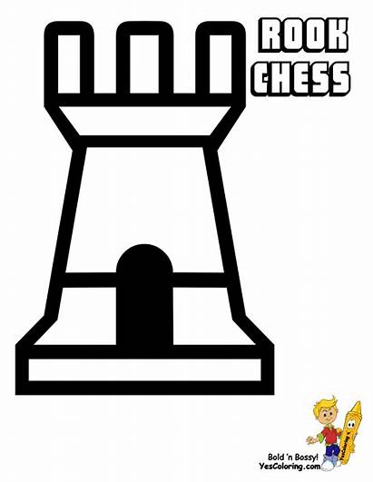 Coloring Rook Pages Chess English Pieces Easy