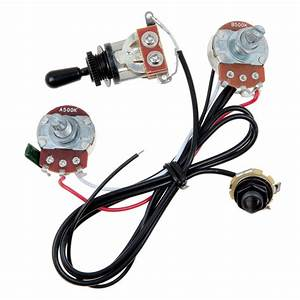 Two Pickup Guitar Wiring Harness 500k 3 Way Toggle Swtich Black With Humbuckers 634458600361