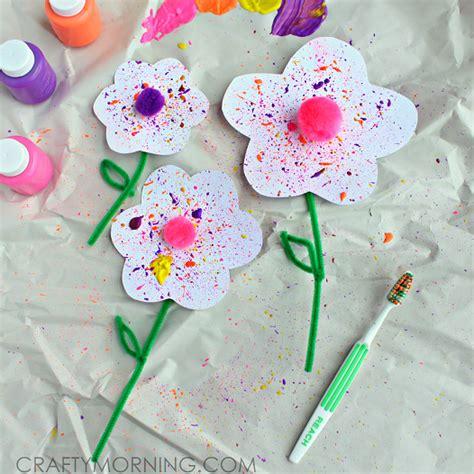 Splatter Flower Craft Using A Toothbrush  Crafty Morning