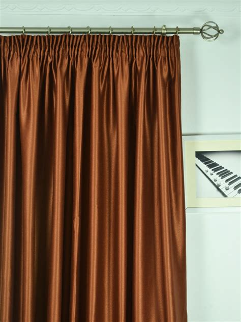 Wide Curtains by Wide Swan Brown Solid Pencil Pleat Curtains 100
