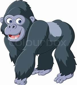 Vector illustration of Cartoon silver back gorilla | Stock ...