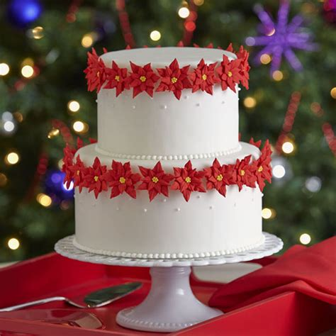 cake christmas tiered poinsettia wilton elegant icing cakes decorations royal buttercream tier holiday decorate sophisticated decorating poinsettias decoration simple fondant