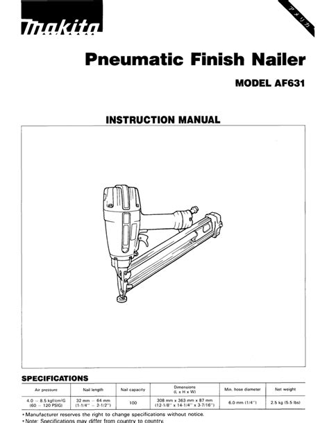 Makita AF631 Instruction manual | Manualzz
