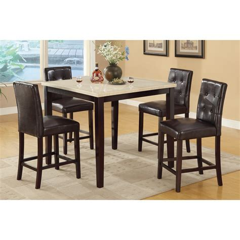 5 Pc.Faux Marble Top Counter Height Dining Table and Chairs