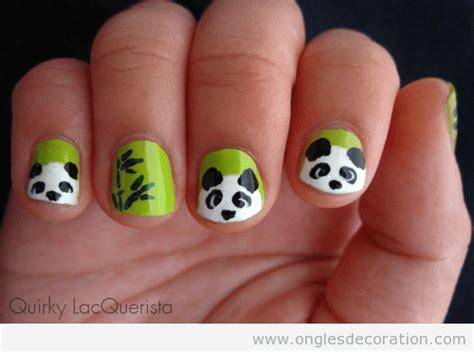 dessin de ourse panda sur ongles tres cute decoration