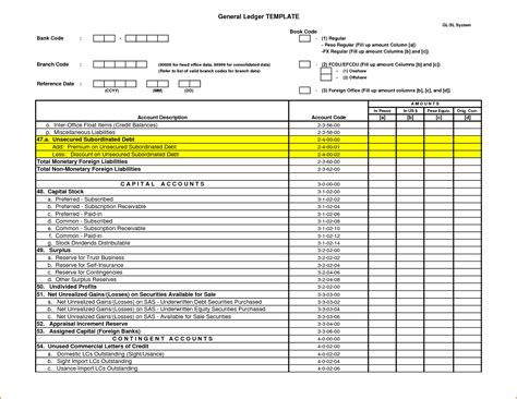 receipt ledger template 5 general ledger template bookletemplate org