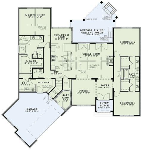 split bedroom home plan  angled garage