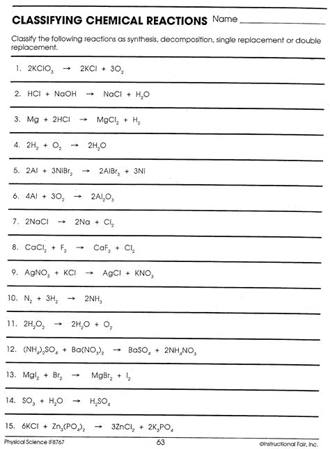 classifying chemical reactions worksheet answer key