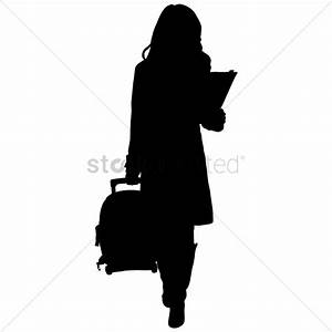 Silhouette of a woman with suitcase Vector Image - 1253942 ...
