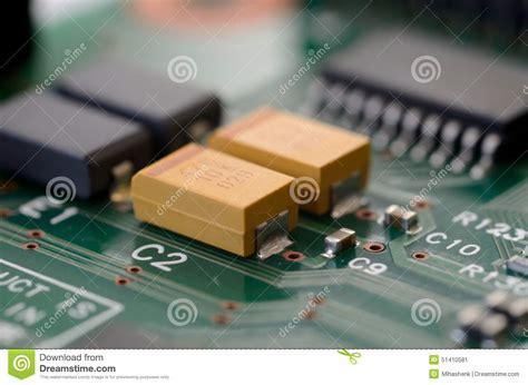 Close Tantalum Capacitors Pcb Stock Image