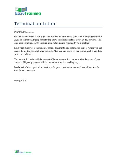 termination letter template format  employee