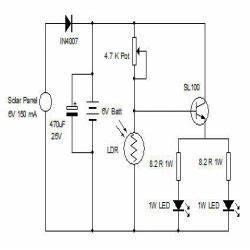 solar night lamp engineersgarage With led wiring diagram solar light circuit diagram rgb led circuit diagram