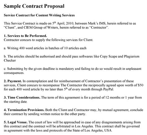 contract proposal template