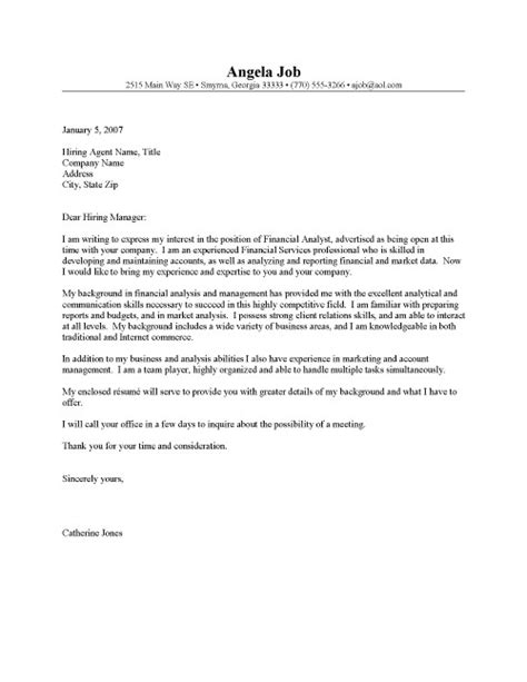 cover letter template  financial analyst essay
