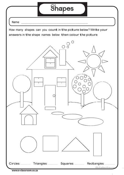 geometry shapes worksheet  esl printable worksheets