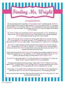 Mr. Wright Bridal Shower Game