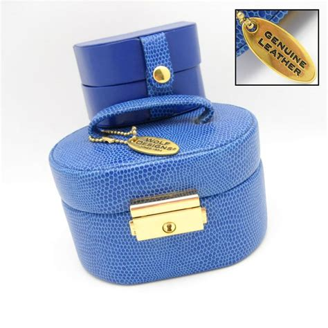 wolf designs    genuine leather blue jewelry box