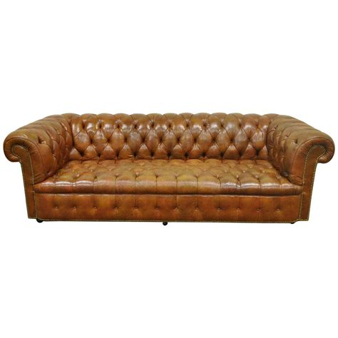 english roll arm sofa for sale henredon rolled arm english style button tufted brown
