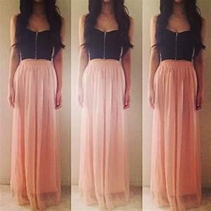 crop top and maxi skirt | Tumblr
