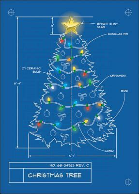 christmas tree blueprint architecture themed christmas card