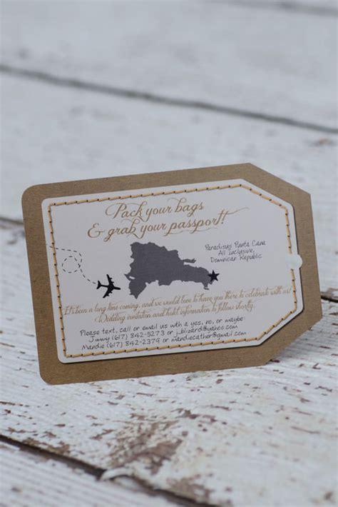 custom luggage tag destination wedding invitations canada