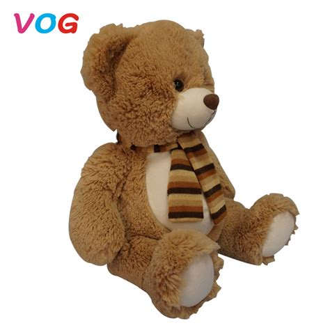 Soft Plush Material Beige White Big Bear Toy With Big Head