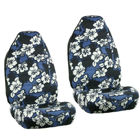 blue hawaiian flowers hibiscus floral print car front