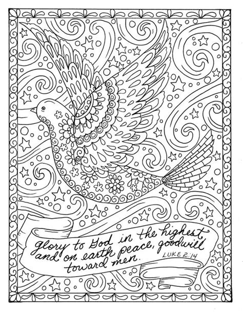christmas coloring page dove christian scripture adult digi etsy