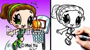 Slam Dunking Basketball Girl How To Draw People Cartoon