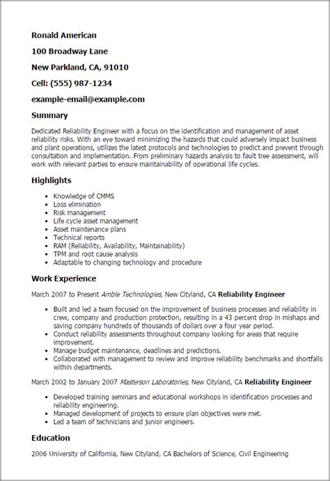 Resume Script For Engineer by Professional Reliability Engineer Templates To Showcase Your Talent Myperfectresume
