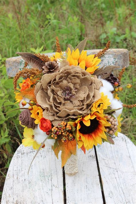 Rustic Fall Wedding Bouquet With Sunflowers Burlap Flowers