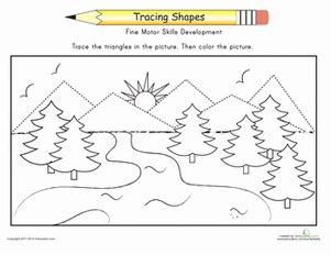 complete the mountains worksheet education 188 | complete mountains shapes places kindergarten