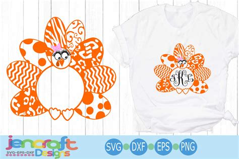 Can be used with the silhouette cutting machines, cricut, or other program/software. Turkey SVG - Patterned Girl Monogram Frame Thanksgiving ...
