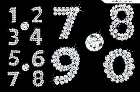 designer vector numbers composed  sparkling diamond