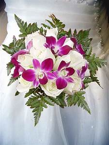 White Roses and Purple Dendrobium Orchids Wedding Bouquet ...