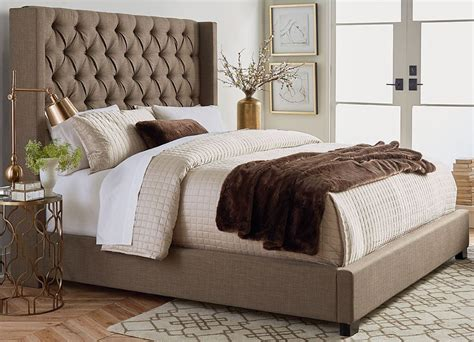 tufted bed king westerly brown upholstered bed set the furniture mart 2959