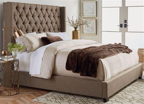 upholstered bedroom set westerly brown upholstered bed set the furniture mart