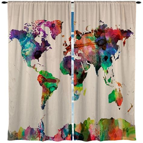 custom window curtain watercolor world map any size by