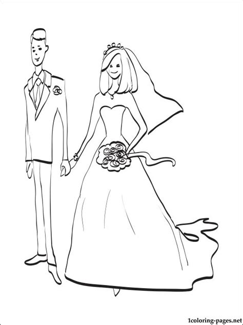 bride  groom coloring page coloring pages