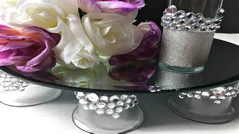 diy bling mirrored wedding cake stand vanity tray