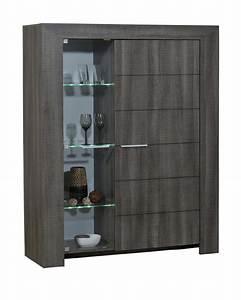 Meuble Chene Gris : meuble de rangement 2 portes lathi 56 chene gris fonce ~ Teatrodelosmanantiales.com Idées de Décoration