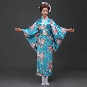 2016 blue Japanese traditional kimono Yukata Costume Dress ...