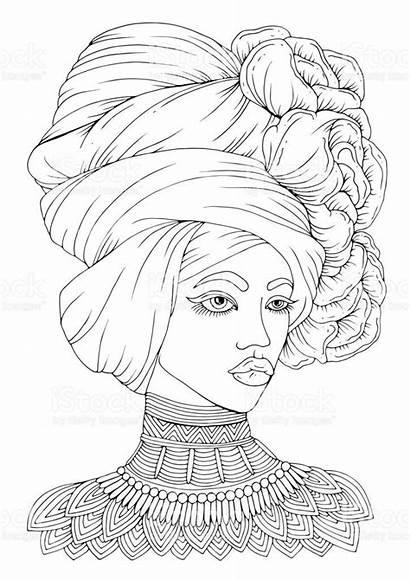 Coloring African Woman Adult Mandala Printable Desenhos